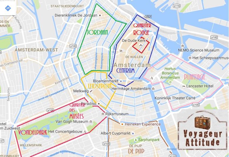 Amsterdam quartiers et visites - Carte amsterdam a imprimer ...