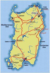 Carte Sardaigne a visiter